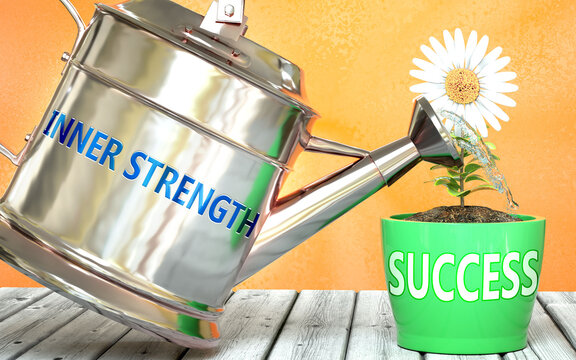 Inner strength helps achieve success - pictured as word Inner strength on a watering can to show that it makes success to grow and it is essential for profit in life, 3d illustration