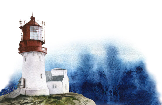 A lighthouse on the rock and a big ocean wave hand drawn in watercolor isolated on a white background. Watercolor illustration. Seaside illustration.