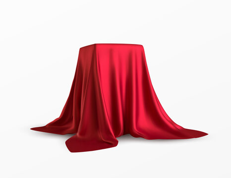Realistic box covered with red silk cloth. Isolated on white background. Satin fabric wave texture material. Textile design, fabric. Vector illustration