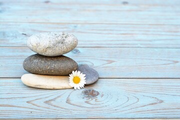 Canvas Prints Stones in Sand Closeup shot of a stack of rocks with a daisy flower on a wooden surface