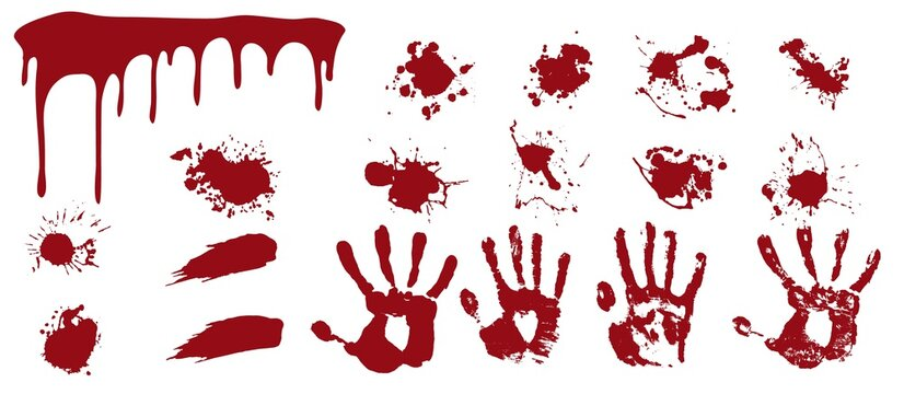 Bloody spray and handprints. Red streaks and smears with human prints spots of death.
