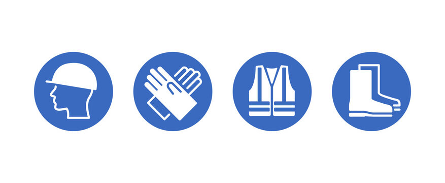 PPE required caution sign - Personal protective equipment icons set for industry and working areas under construction - isolated vector collection