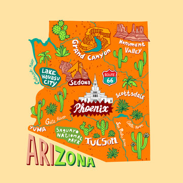 Illustrated map of  Arizona state, USA. Travel and attractions. Souvenir print