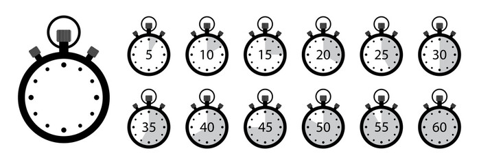 Timer icon. Set of stopwatches. Clock with stop time and arrow. Watch for speed in sport. Chronometer and countdown with interval. 5, 10,15, 20, 25, 30, 35, 40, 45, 55, min. label of deadline. Vector