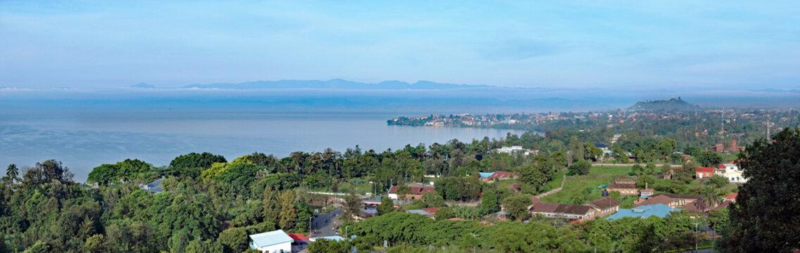Lake Kivu seen from Rubavu in Rwanda, towards Goma in D.R. Congo