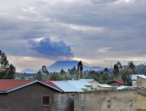 Active Nyiragongo volcano in Virunga National Park in D.R.Congo, seen from Rubavu in Rwanda