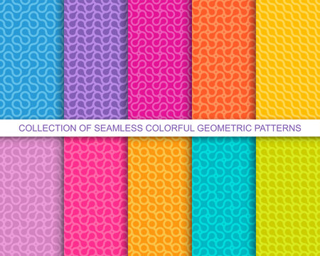 Collection of bright vector colorful seamless geometric wavy patterns - creative design. Vibrant curly backgrounds, endless curve textures