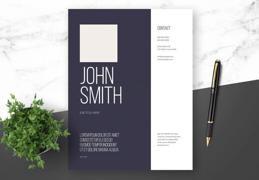 Resume Cover Letter and Portfolio Layout with Navy Blue Elements
