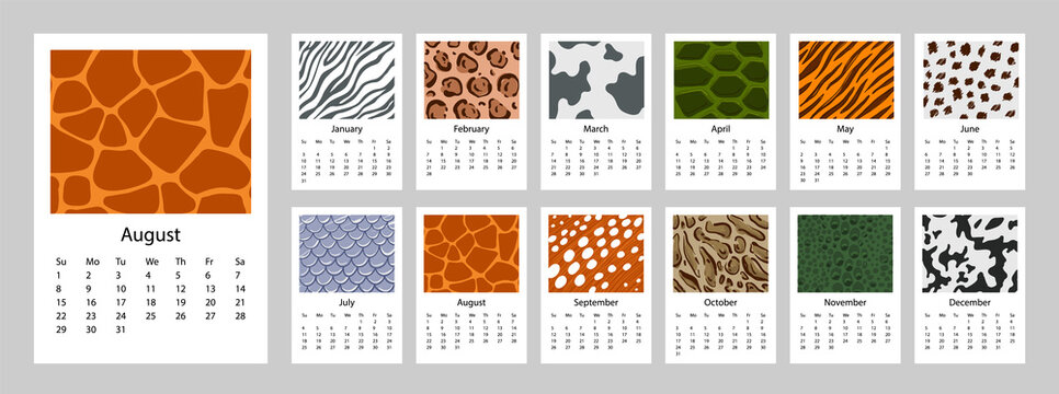 2021 Calendar with animal print background design set of 12 months. 2021 Week starts on Sunday.  Vertical Template A4 or A3 format. Business planner. Stationery design.