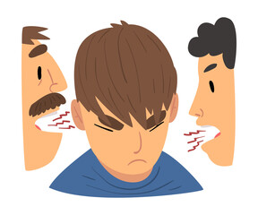 Conflict with Parents, Angry Mother and Father Having a Quarrel Arguing with Rebellious Teen Son Vector Illustration