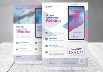 Business Flyer with Magenta and Cyan Accents