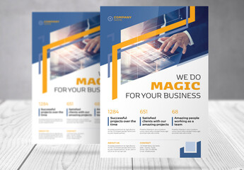 Business Flyer with Blue and Yellow Accents