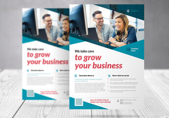 Business Flyer with Dark and Light Blue Accents