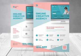 Business Flyer with Light Red and Cyan Accents