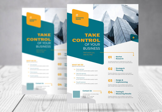 Business Flyer with Turquoise and Yellow Accents