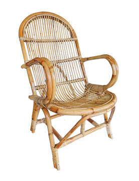 wicker chair isolated on white background. Details of modern boho, bohemian , scandinavian and minimal style . eco design interior
