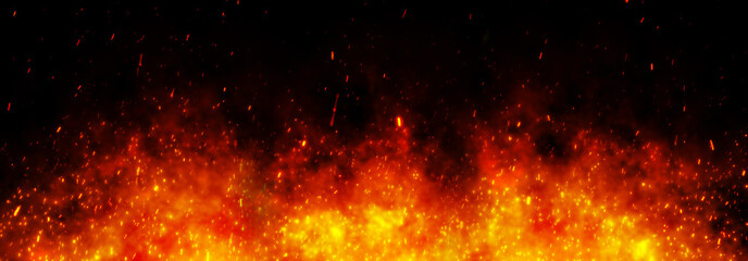 Fire embers particles over black black background. Fire sparks background. Abstract dark glitter fire particles lights.