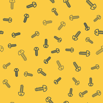 Blue line Metallic screw icon isolated seamless pattern on yellow background. Vector Illustration.