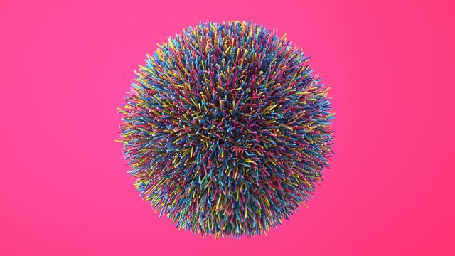 Abstract image of a ball of colored fibers 3D image