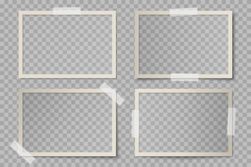 Vector set of beige rectangular photo card frames