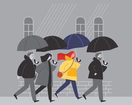 People walk in the rain with umbrellas. Depressive Midseason mood. Gray autumn weather.