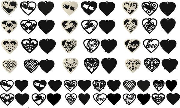 Heart Earring for Сutting, Valentine  Earrings, Earrings Template, Pendant, Leather Earrings, Love SVG, Valentine's Day