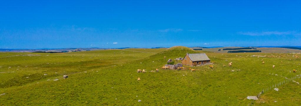 panorama of Aubrac plateau- beautiful france landscape rural