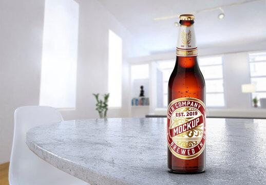 Beer Bottle Mockup with Room Scene