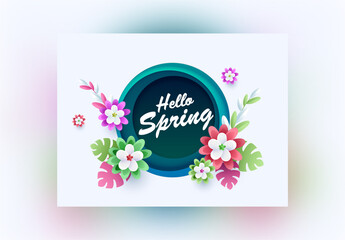 Spring Background Decorated with Paper Cut Flowers and Tropical Leaves