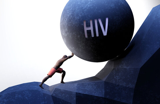 Hiv as a problem that makes life harder - symbolized by a person pushing weight with word Hiv to show that Hiv can be a burden that is hard to carry, 3d illustration