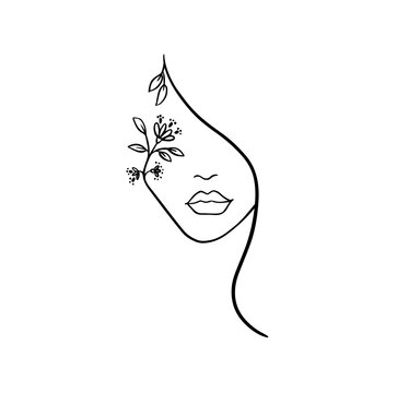 Woman face with flowers one line drawing. Flower bouquet in woman head single line art. making business cards posters for beauty salons nail stickers