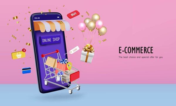 Shopping cart in the smartphone application with gift box and credit card for online shopping