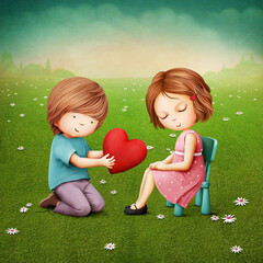 Cartoon illustration with a boy who gives a girl a big red heart.