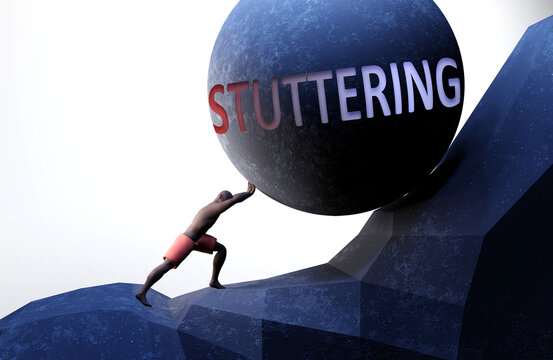 Stuttering as a problem that makes life harder - symbolized by a person pushing weight with word Stuttering to show that Stuttering can be a burden that is hard to carry, 3d illustration