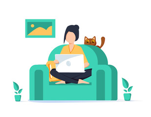 Girl with laptop on the chair. Freelance or studying concept. Cute illustration in flat style. Work at home, freelancer