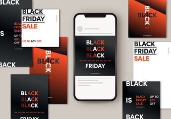 Black Friday Social Media Post Layout Set