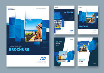 Business Report Cover Layout Set with Blue  and Dark Rectangles