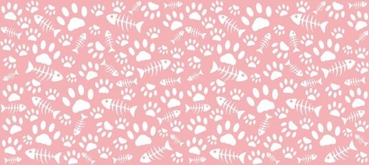 Imprints of cat's paws and skeletons of white fish on a pink background. Endless seamless vector pattern of cat tracks. Pads and fish bones