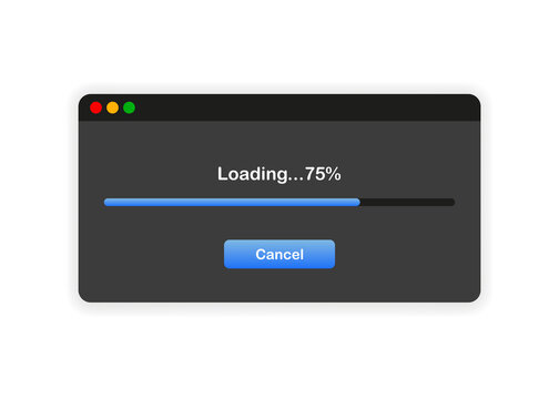 Window of user Interface. Loading 75. System download file template on white background. Vector.