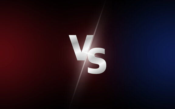 Versus VS letters fight dark red and blue backgrounds in realistic style design with halftone, lightning. Vector.