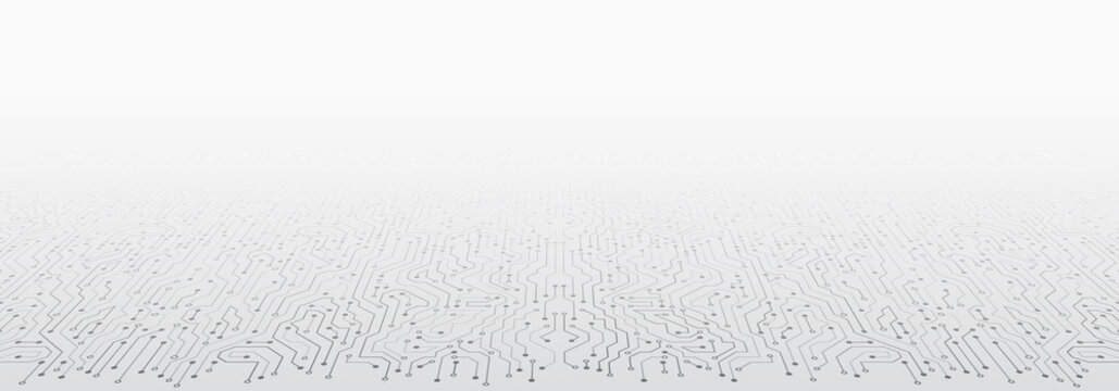 Perspective wide High-tech technology background texture. Abstract 3D circuit board vector illustration. Vector electronic communication.