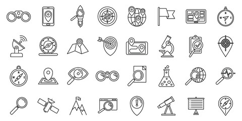Obraz Research icons set. Outline set of research vector icons for web design isolated on white background - fototapety do salonu