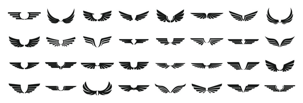 Wings icons set. Simple set of wings vector icons for web design on white background