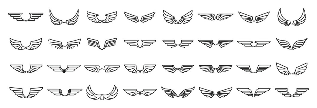 Angel wings icons set. Outline set of angel wings vector icons for web design isolated on white background