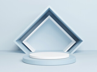 Mockup podium for product presentation, blue abstract geometry 3d render, 3d illustration