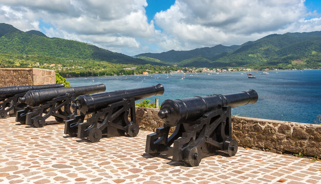A row of cannons at Fort Shirley in Cabrits National Park near Portsmouth on the Caribbean island nation of Dominica