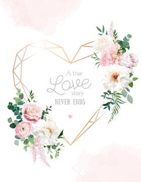 Flower geometric heart line art vector design frame