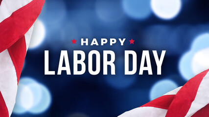 Happy Labor Day Text Over Defocused Blue Bokeh Lights Background with Patriotic American Flags Border