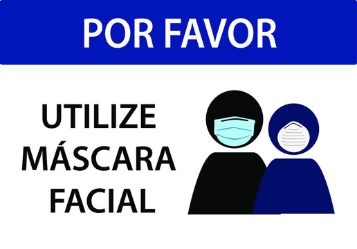 please wear a face covering sign, face mask use is required, do not enter without a mask, written in Portuguese, vector illustration