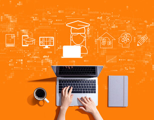 Distance learning theme with person using a laptop computer